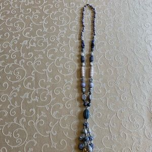 Brand new blue and white stone necklace.